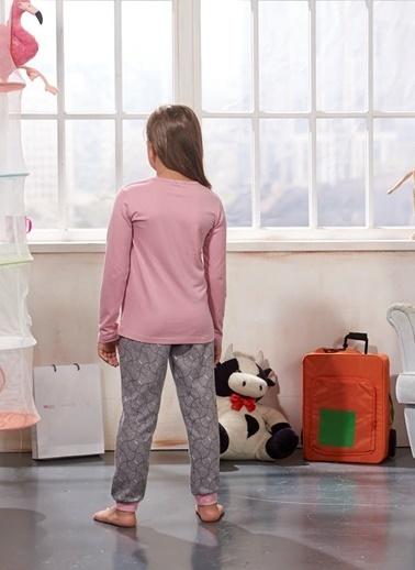 Zeyzey Kız Çocuk Baskılı Pijama Takım Pembe